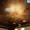 ceiling painted to look like oxidized copper